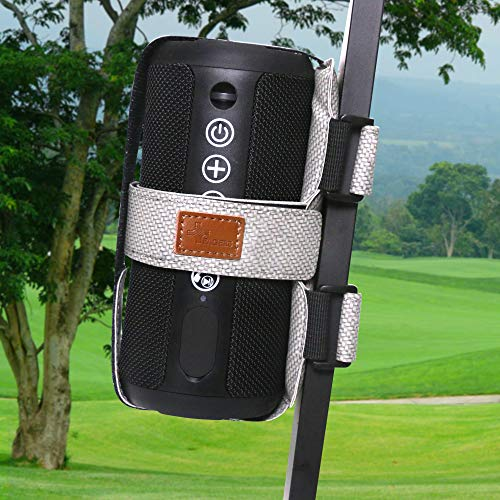 speaker mount for golf carts FAGERS Portable Speaker Mount for Golf Cart Railing, Adjustable Speaker Mount Holder Strap Fits Most Bluetooth Wireless Speakers Attachment Accessory Bar Rail, Light Grey