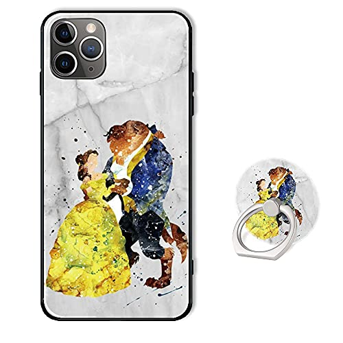 Phone Case for iPhone 12 Pro Max,Soft Silicone Protective Cover with Ring Holder Stand for iPhone 12 Pro Max 6.7 inch - Disney Beauty and The Beast White Marble