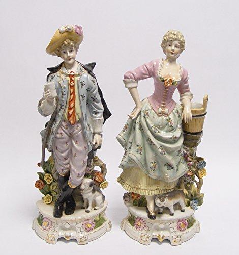 Deko 2 Figuren Porzellan Porzellanfiguren Barock Höhe 43 cm kunstvoll verarbeitet