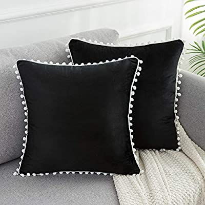 WLNUI Soft Velvet Pillow Covers Decorative Cute Pom Poms Throw Pillow Covers Square Cushion Case for Sofa Couch Home Decor 18x18 Inches