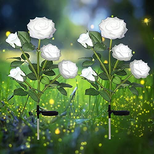 Juego de 2 lámparas solares LED para jardín, con 10 pétalos de rosa, luces decorativas para jardín, césped, patio, yard pavimento, decoración resistente a la lluvia (blanco)