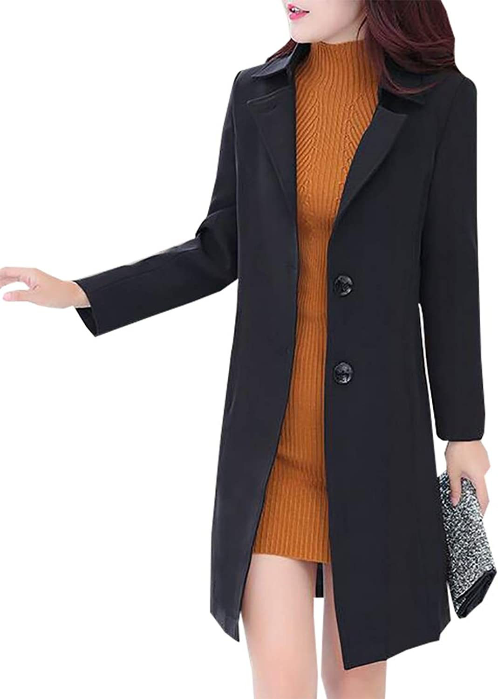 Esast Women's Classic SingleBreasted Plus Size Wool Overcoat Notch Lapel Coat