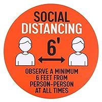 Ycsst 社会的距離表示シール 5枚 30cm ソーシャルディスタンス 行列 間隔 床用シール レジ待ち赤、緑、オレンジ、黄色 (オレンジ色)
