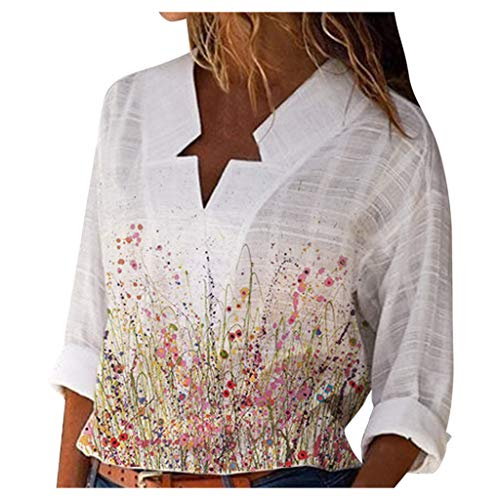Goosuny Damen Hemd Casual Blusenshirt Oberteile,V-Ausschnitt T-Shirt Bluse,Damen Elegant Sexy Tops,Damen Langarmshirt Lose Tunika Bluse Tops Oversize Tops