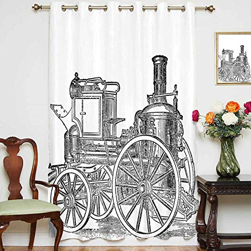 Blackout Curtains Panels Old Fireman Truck Drawing Effect Picture British Antique Transport Decorative Grommet Top Thermal Insulated Curtain For Bedroom,Single Panel,70' x 63',Charcoal Grey White