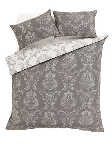 Olivia Rocco Royal Damask Duvet Cover Set Easy Care Quilt Covers With Pillowcases, Grey Double
