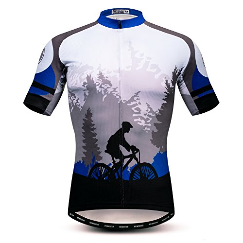 weimostar Cycling jersey mens bike tops MTB Jersey zip Mountain Road Clothing Bicycle riding top breathable Summer Pro Team Sports racing cycle jersey for male sportswear polyester Size L