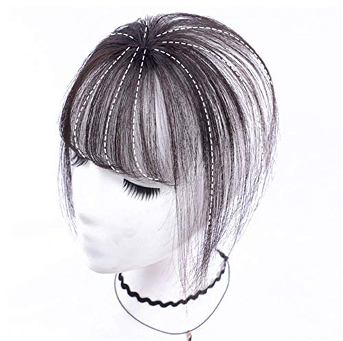 Real Human Hair Clip on Bangs Topper 3D Hand Made Air Bangs Crown Wiglet Hairpieces for Women, 7' Dark Brown