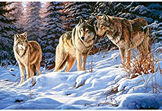 Embroidery 5D Animal Diy Diamond Painting Hunting Wolves Picture Cross Stitch Rhinestone Room Decoration Art Gift 16x20inc...