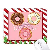 ドーナツの3つのウエスタンデザート食物 ゴムクリスマスキャンディマウスパッド
