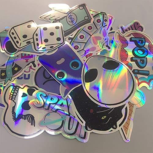 PMSMT 20 Stück/Set Coole Laser Star Aufkleber für Motorrad Notebook Trolley Case Skateboard Bunte Schädel Cross Dope Aufkleber Pack Aufkleber