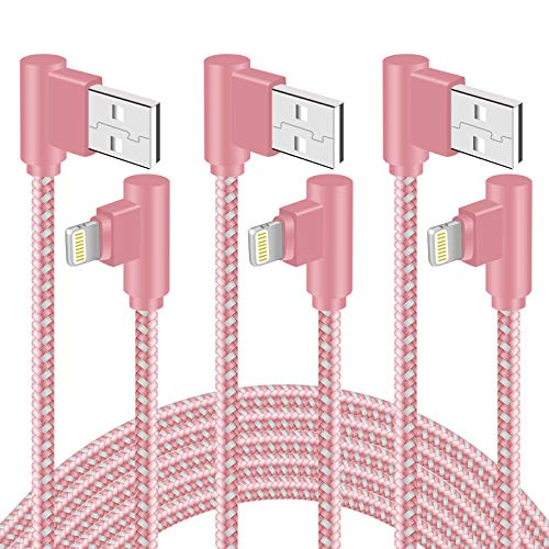 90 Degree iPhone Charger 10 FT 3 Pack Lightning Cable Right Angle Braided iPhone Charging &Syncing Cord for iPhone12/11/Pro/Xs Max/XS/XR/X/iPad/iPod (Rose Gold,10Feet)