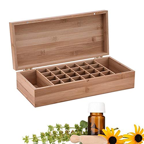 RoseFlower Caja de Almacenaje de Madera de Aceites Esenciales y Aromaterapia, 26 Botellas Aceite Contenedor Cubos de Almacenaje Organizadores para Perfumes, Fragancias, CosméTica, Joyas