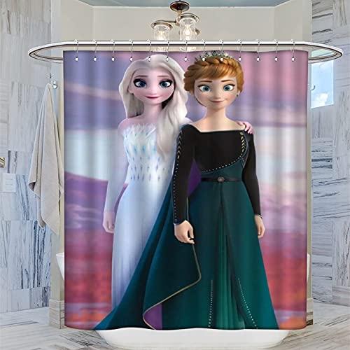 DRAGON VINES Die Eiskönigin Disney Fantasy-Film-Gardinen Prinzessin Elsa & Anna Gardinen, Stoff, Duschvorhang, dekorative Gardinen für Badezimmer, Hotels, 183 x 183 cm