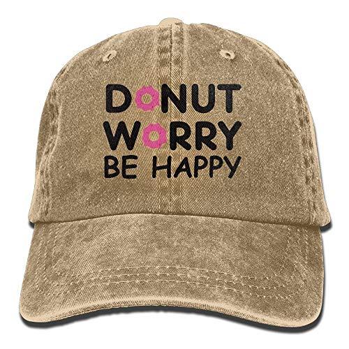 Tonesum Donut Worry Be Happy Gorras de béisbol Sombreros de Mezclilla para Hombres Mujeres