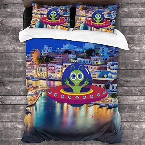 Juego de ropa de cama de pueblo griego, 3 piezas, juegos de funda de edredón con 1 funda de edredón y 2 fundas de almohada, duraderos y transpirables, 86 x 70 pulgadas