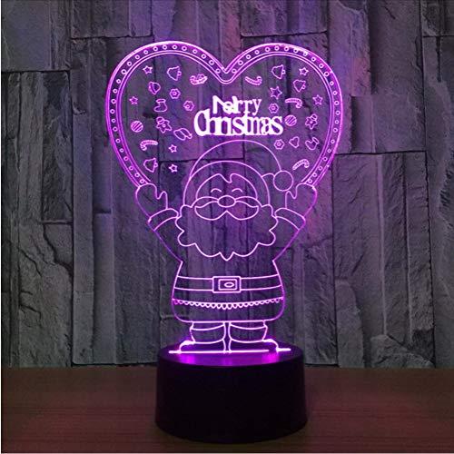 Fyyanm 3D Visual Baby Dormir 7 Couleurs Changement Santa Claus Night Lights Led Lampe Creative Jouets Bureau Lumières Luminarias Cadeaux De Noël