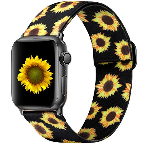 Ouwegaga Adjustable Elastic Bands Compatible for Apple Watch Band 44mm 42mm iWatch SE and Series 6 5 4 3 2 1 Fashion Soft Stretchy Loop Woven Fabric Wristband for Women Men Black Sunflower Pattern