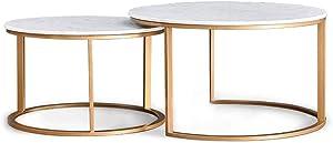 KUKU-mesa de café Mesa de Centro de mármol con Juego de mármol en la Sala de Estar de Hierro Forjado nórdico, Bandeja de Pintura metálica Estable, Redondo, Dorado