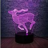 Antilope 3D Led Nachtlicht 7 Farbwechsel Nachttischlampe Tiermodell Kinder Geschenk Spielzeug Home Party Dekoration