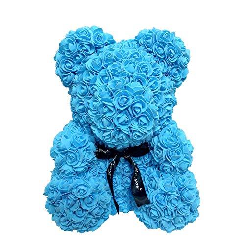 AoJuy 40cm Rosa Oso, Simulación Flor Osito, Corazón Love Espuma Rosa, Boda, Fiesta, Regalo Decoración Hogar - Azul