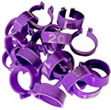 """Chicken Leg Rings - 20 Numbered Tag Markers for ADULT Birds   5/8"""" to 3/4"""" legs   Clip On Poultry Ankle Bands for Gamefowl, Ducks, Guineas   Colored ID Legband for Breeding Marking, & Banding   Fowls"""