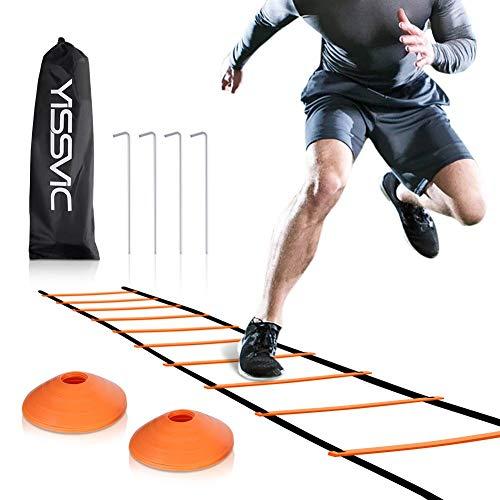 Yissvic Sport Trainingsleiter Dauerhafte Koordinationsleiter Fussball Leiter 6m mit Erdnägel Tragetasche und 10 Sportkegeln Orange