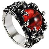 Lvptsh Mens Stainless Steel Ring Evil Devil Eye Gothic Eyes of Hell Demon Dragon Claw Gem Stone Vintage Biker Punk Ring Red