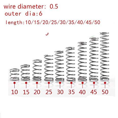 NO LOGO L-Yune, 20pcs 0.5mm 0.5x6mm Edelstahl Druckfeder Drahtdurchmesser 0,5 mm Außendurchmesser 6mm Länge 10-50mm (Größe : 35mm)