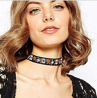 Vangelady Embroidery Flower Choker Necklace Bohemian Lolita Chain Jewelry for Women Girls