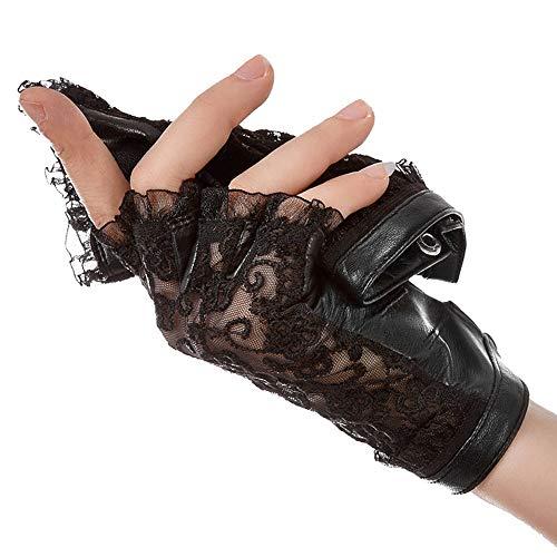 Agelec Halbe Fingerhandschuhe Damen Dünnschliff Sommer Fahren Sonnencreme Handschuhe Sexy Spitze Atmungsaktiv Leder Reiten (Größe : S)
