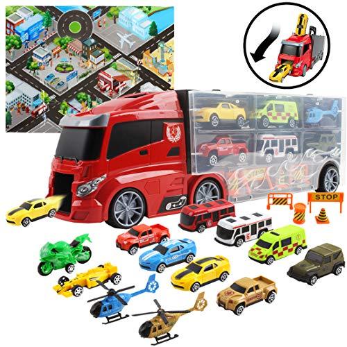 deAO Tragekoffer für Spielzeugautos im LKW-Design. Das Set beinhaltet 10 ausgewählte Autos und Zubehör