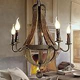 Modern Deckenlampe Vintage Kronleuchter 5 Lichter Holz Kronleuchter Lampe Loft