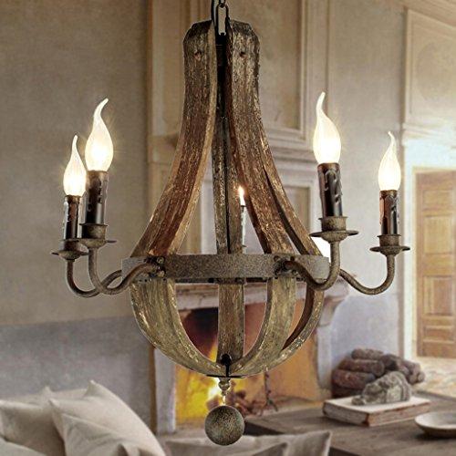 Modern Deckenlampe Vintage Kronleuchter 5 Lichter Holz Kronleuchter Lampe Loft Licht Retro Licht D50 * H60CM Balkon Schlafzimmer
