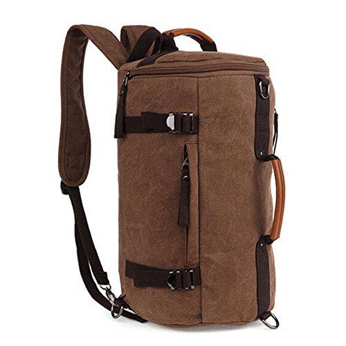 Fresion Canvas Rucksack Schulrucksack Daypack Laptop Rucksack Umhängetasche mit der Großen Kapazität für Herren Damen Outdoor Sports (Kaffee)