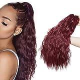 Clip in Ponytail Extensions Naturel Extensions de Cheveux Cordon Queue de Cheval Bouclé Postiches pour les Femmes Noires 45cm Vin rouge