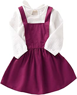 Stripe Suspenders Skirt Overall Dress Toddler Baby Girls Floral Outfit Set Ruffle Purple Long Sleeve Shirt Tops
