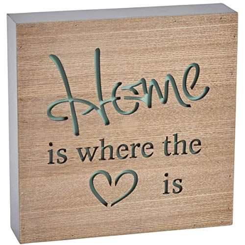Wooden Block Sign - Home is Where the Heart is by Transomnia