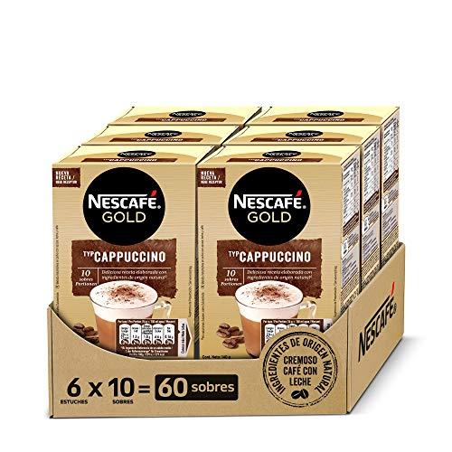 NESCAFÉ GOLD CAPPUCCINO NATURAL, cremoso café soluble con leche desnatada, Pack de 6 estuches con 10 sobres, TOTAL 60 sobres