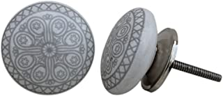 Artncraft 12 Knobs White & Grey Hand Painted Ceramic Knobs Cabinet Drawer Pull