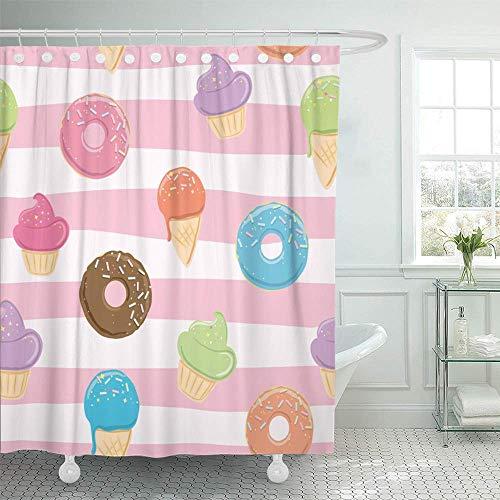 LRSJD wasserdichte verstellbare Polyesterfaser Stoff Süßigkeiten EIS Donut Kuchen Bad Duschvorhang wasserdichte Bad Dekoration 72x72inch leicht zu reinigen beinhaltet 12 Kunststoffhaken 3D-Druck