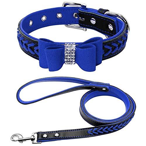WEIZI Lindo collar de perro de gato pequeño conjunto de correas trenzadas con lazo para perros pequeños y medianos (color: azul, tamaño: S)
