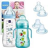 MAM Training Bottle Set, regalos para bebés de +4 meses, incluye 1 biberón Trainer (220 ml) y 1 biberón Easy Active (330 ml), juego de biberones con bonitos dibujos, NIÑO (Boy)