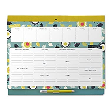 Boxclever Press Big Meal Planner & Magnetic Refrigerator Grocery List. Nearly US Letter size. Perforated shopping list pad with useful headings & weekly menu planner. Pocket for coupons. (Teal)