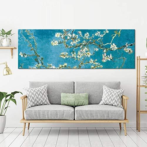 ganlanshu Blühender Mandelbaumplakatdruck Leinwandwandkunstdekoration des holländischen Malers,Rahmenlose Malerei,20X60cm