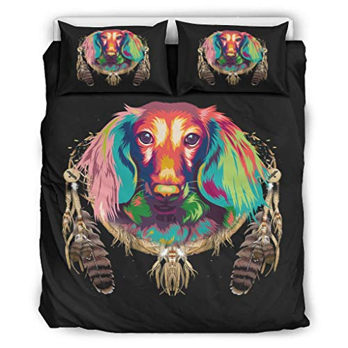 DOGCATPIG Pareja estilo ropa de cama colorido perro naranja pareja estilo ropa de cama Pareja estilo ropa de cama para colegas blanco 90x90 pulgadas