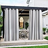 NICETOWN Patio Curtain for Outdoor Waterproof, Home Fashion Light Grey & White Stripe Rustproof Stainless Steel Ring Top Thermal Insulated Light Blocking Privacy for Balcony, 1 Panel, 52' W x 108' L