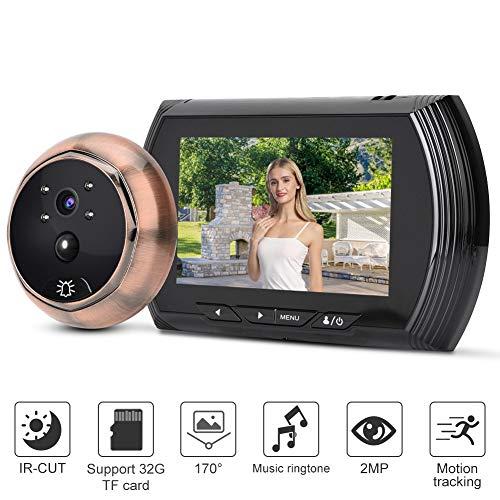 Draadloze video deurbel, digitaal kijkgaatje met 4,6 inch LCD-scherm + 2MP HD camera + 32 ringtones + IR nachtzicht voor thuisbeveiligingssysteem (zwart)