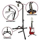 RockJam GS-001アコースティックおよびエレクトリックギター用の調整可能な垂直三脚ギタースタンド