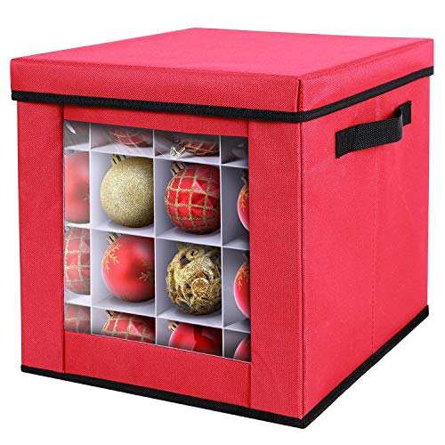 Ohuhu Christmas Ornaments Storage Containers with Lid and Back Pocket, Transparent Design, Christmas Ornament Storage Box, 600D Oxford Fabric Waterproof and Tear-proof, Red